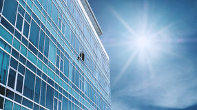 Panoramic Modern Building Facade with one opened Window, on blue sky with bright sunshine. Panoramic Modern Building Facade with one opened Window , on blue sky stock photos