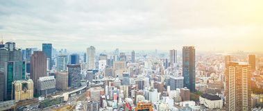 Panoramic modern city skyline aerial view in Osaka, Japan. Business concept for real estate and corporate construction - panoramic modern city skyline bird eye royalty free stock photo