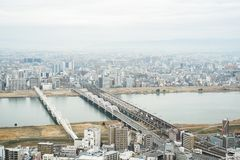 Panoramic modern city skyline aerial view in Osaka, Japan. Business concept for real estate and corporate construction - panoramic modern city skyline bird eye stock photography