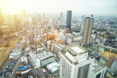 Panoramic modern city skyline aerial view in Osaka, Japan. Business concept for real estate and corporate construction - panoramic modern city skyline bird eye royalty free stock photos