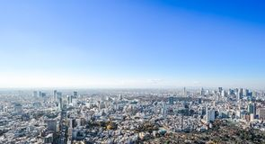Panoramic modern city skyline aerial view under blue sky in Tokyo, Japan. Asia Business concept for real estate and corporate construction - panoramic modern royalty free stock photo