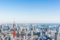 Panoramic modern city skyline aerial view under blue sky in Tokyo, Japan. Asia Business concept for real estate and corporate construction - panoramic modern stock photos