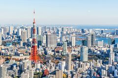 Panoramic modern city skyline aerial view under blue sky in Tokyo, Japan. Asia Business concept for real estate and corporate construction - panoramic modern royalty free stock photos