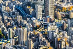 Panoramic modern city skyline aerial view under blue sky in Tokyo, Japan. Asia Business concept for real estate and corporate construction - panoramic modern stock photography