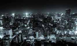 Panoramic modern city skyline bird eye aerial view with night sky in Osaka, Japan. Business concept for real estate and corporate construction - panoramic modern royalty free stock photography