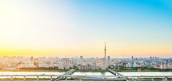 Panoramic modern city skyline bird eye aerial view with tokyo skytree under dramatic sunset glow and beautiful cloudy sky in Tokyo Stock Photo