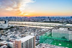 Panoramic modern city skyline bird eye aerial view with tokyo skytree under dramatic sunset glow and beautiful cloudy sky in Tokyo Stock Image