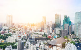 Panoramic modern city skyline bird eye aerial view from tokyo tower under dramatic sunrise and morning blue sky in Tokyo, Japan Royalty Free Stock Images