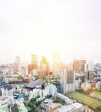 Panoramic modern city skyline bird eye aerial view from tokyo tower under dramatic sunrise and morning blue sky in Tokyo, Japan Royalty Free Stock Image