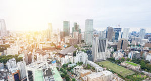 Panoramic modern city skyline bird eye aerial view from tokyo tower under dramatic sunrise and morning blue sky in Tokyo, Japan Stock Photography
