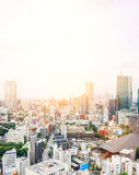 Panoramic modern city skyline bird eye aerial view from tokyo tower under dramatic sunrise and morning blue sky in Tokyo, Japan Stock Photos