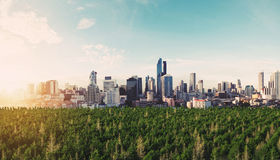 Panoramic modern city in sunrise with green forest Stock Photography