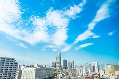 Panoramic modern city urban skyline bird eye aerial view under sun & blue sky in Tokyo, Japan. Asia Business concept for real estate and corporate construction stock photo
