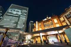 Panoramic modern cityscape building bird eye aerial night view of Tokyo Station under neon light and dark blue sky in Tokyo, Japan Royalty Free Stock Photos