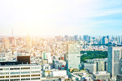 Panoramic modern cityscape building bird eye aerial view and cranes under sunrise and morning blue bright sky in Tokyo, Japan Stock Photography