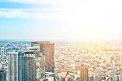 Panoramic modern cityscape building bird eye aerial view and cranes under sunrise and morning blue bright sky in Tokyo, Japan Stock Images