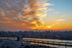 Panoramic modern cityscape building bird eye aerial view with Mount Fuji under sunrise and morning blue bright sky in Tokyo,Japan Royalty Free Stock Photos
