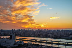Panoramic modern cityscape building bird eye aerial view with Mount Fuji under sunrise and morning blue bright sky in Tokyo,Japan Stock Images