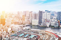 Panoramic modern cityscape building bird eye aerial view of Odaiba bay and rainbow bridge under sunrise and morning blue bright sk Stock Photos