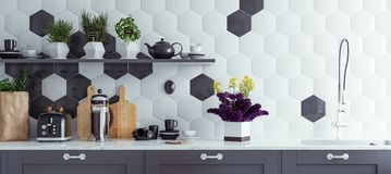 Panoramic modern kitchen interior background. 3d render stock image