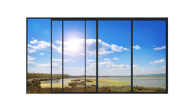 Panoramic modern window with a lake landscape Royalty Free Stock Photo