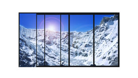 Panoramic modern window snow mountains landscape. Isolated panoramic 4 parts sliding modern aluminum window  with high mountains covered with snow landscape Stock Image