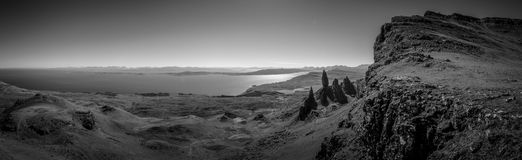 Panoramic monochrome Old Man of Storr stock photos
