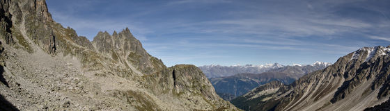 Panoramic Mont Blan - Swiss Alps Royalty Free Stock Image