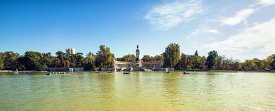 Panoramic of Monument to Alonso XII in Buen Retiro park, Madrid, Stock Photos