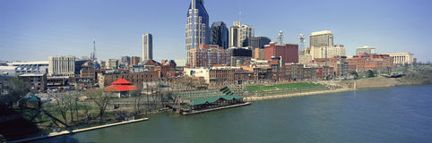 Panoramic morning view of Cumberland River and Nashville, TN Stock Images