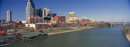 Panoramic morning view of Cumberland River and Nashville, TN Stock Photos
