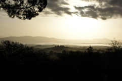 Panoramic morning view. With fog Stock Photo