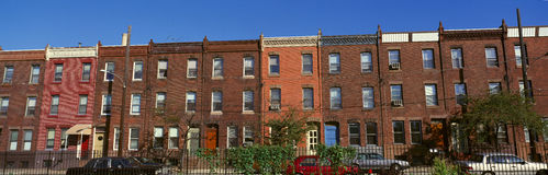 Panoramic morning view of red brick row houses of Philadelphia, PA Royalty Free Stock Photography