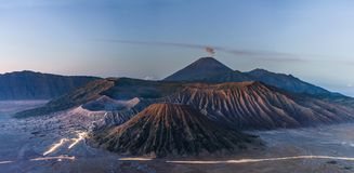 Panoramic Mount Bromo volcanic, famous travel destination and tourist attraction in Indonesia Stock Photography