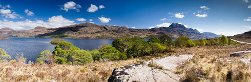 Panoramic of Mount Slioch and Loch Maree Stock Images
