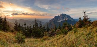 Panoramic mountain fall sunset landscape, Rozsutec Royalty Free Stock Image