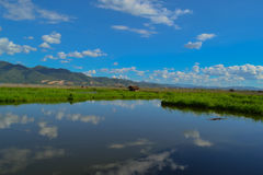 Panoramic mountain, lake Inle. Burma, Myanmar Royalty Free Stock Photos
