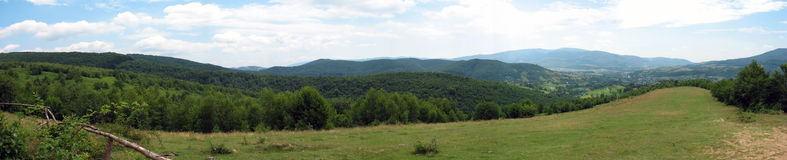 Panoramic mountain landscape. High angle view rural scene Stock Photo