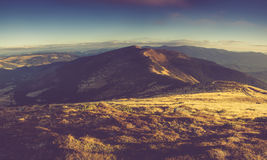 Panoramic mountain landscape in morning. Panoramic mountain landscape in morning at sunshine Stock Photography