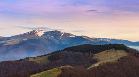 Panoramic mountain landscape in spring. View from the top of peak. Stock Image