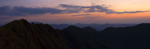 Panoramic mountain landscape at sunset Royalty Free Stock Photography