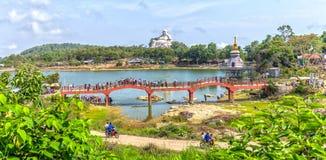 Panoramic mountain and Maitreya Buddha Stock Images