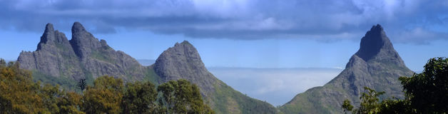 Panoramic mountain range in Mauriitus. Panoramic view of mountains seen from Vacoas Stock Images