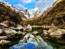 Panoramic Mountain Reflection In New Zealand Stock Photo