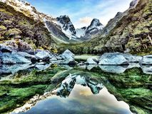 Panoramic Mountain Reflection in New Zealand Royalty Free Stock Photography