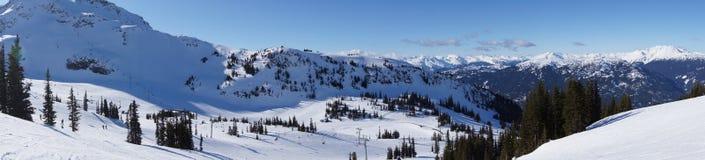 Panoramic Mountain View. Panoramic view of Whistler Mountain Range showing ski slopes Royalty Free Stock Photo