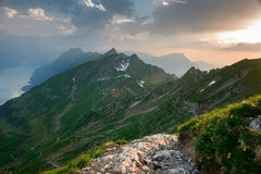 Panoramic mountain view from Brienzer Rothorn Royalty Free Stock Photo