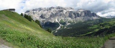 Panoramic mountain view of the Dolomites from Champinoi mountain, Selva di Valgardena, South Tyrol - Italy Stock Photos