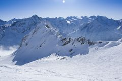 Panoramic view of freeride zone, Passo Tonale, Italy. Panoramic mountain view of freeride zone, Passo del Tonale, Italy, Europe Royalty Free Stock Photography