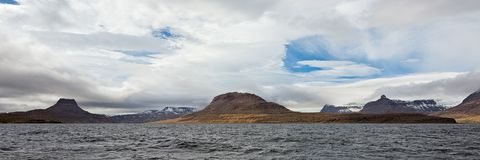 Panoramic mountain view in Isafjordur, Iceland Royalty Free Stock Images